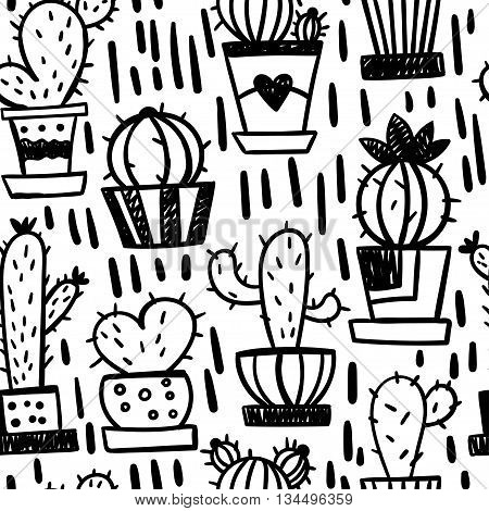 Funny seamless pattern with cartoon cactus. Vector illustration.