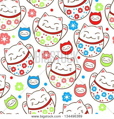 Bright seamless pattern with cute kittens lucky charms. Vector illustration.
