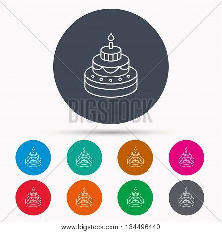 Cake icon. Birthday delicious dessert sign. Sweet food with candle symbol. Icons in colour circle buttons. Vector