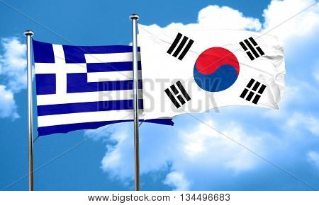 Greece flag with South Korea flag, 3D rendering