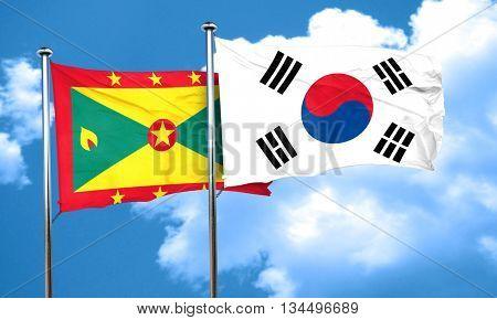 Grenada flag with South Korea flag, 3D rendering