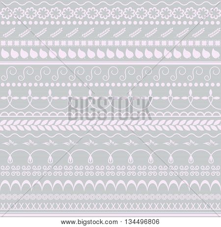 Vector. Floral seamless pattern. Horizontal background for textile paper or other decoration. Pink and grey colors