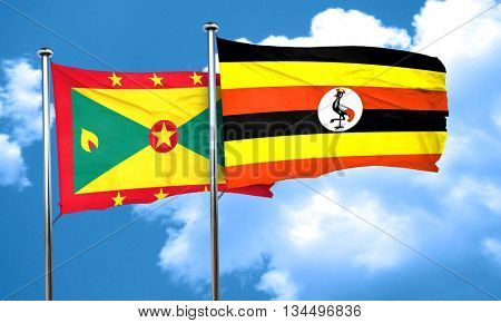 Grenada flag with Uganda flag, 3D rendering