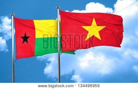 Guinea bissau flag with Vietnam flag, 3D rendering