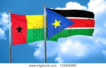 Guinea bissau flag with South Sudan flag, 3D rendering