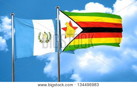 guatemala flag with Zimbabwe flag, 3D rendering