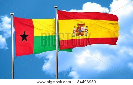 Guinea bissau flag with Spain flag, 3D rendering