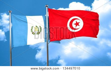 guatemala flag with Tunisia flag, 3D rendering