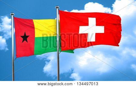 Guinea bissau flag with Switzerland flag, 3D rendering