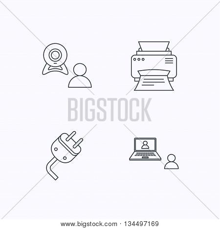 Video chat, printer and electric plug icons. Video conference linear sign. Flat linear icons on white background. Vector