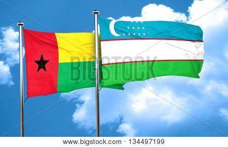 Guinea bissau flag with Uzbekistan flag, 3D rendering