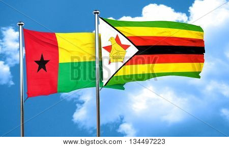 Guinea bissau flag with Zimbabwe flag, 3D rendering