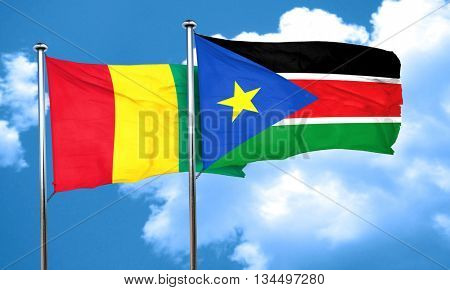 Guinea flag with South Sudan flag, 3D rendering
