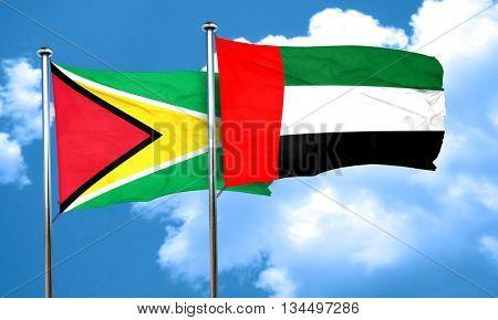 Guyana flag with UAE flag, 3D rendering