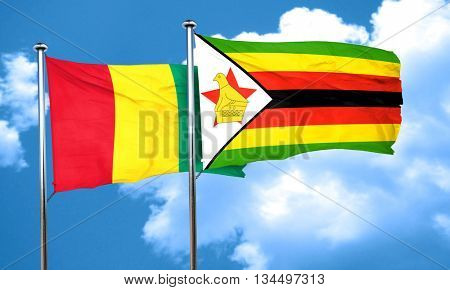 Guinea flag with Zimbabwe flag, 3D rendering