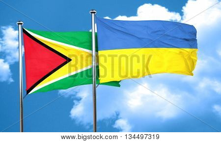 Guyana flag with Ukraine flag, 3D rendering