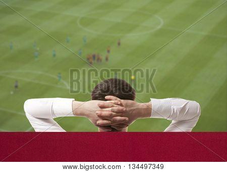 Soccer fan watching the TV