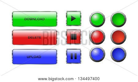 Vector. Isolated buttons. Glass buttons. Web button icons for internet: play button stop button pause button download bar upload bar delete bar round buttons. Redbluegreen. Plus pushed buttons