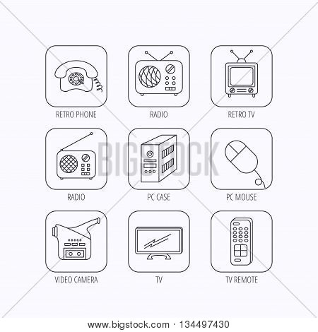 Radio, TV remote and video camera icons. Retro phone, PC case and mouse linear signs. Flat linear icons in squares on white background. Vector