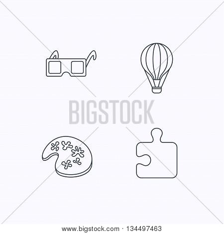 Puzzle, painting and air balloon icons. 3d glasses linear sign. Flat linear icons on white background. Vector