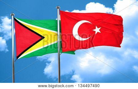 Guyana flag with Turkey flag, 3D rendering