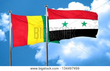 Guinea flag with Syria flag, 3D rendering