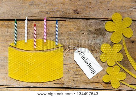 Beeswax, Cake With Candles And Flowers On Wooden Table, German Word, Invitation