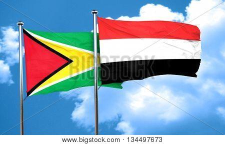 Guyana flag with Yemen flag, 3D rendering