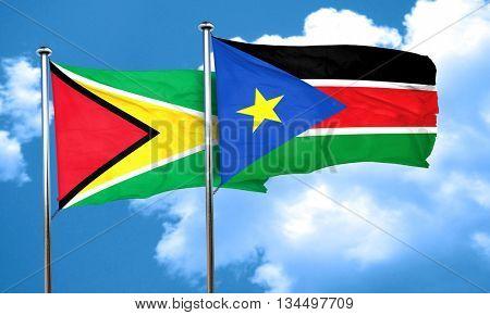 Guyana flag with South Sudan flag, 3D rendering