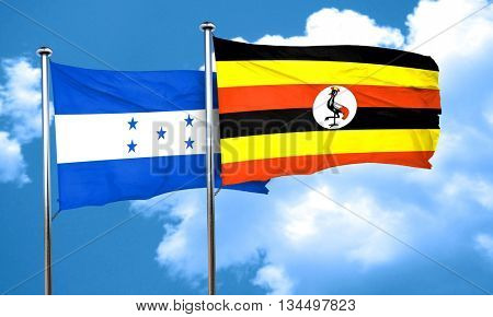 Honduras flag with Uganda flag, 3D rendering