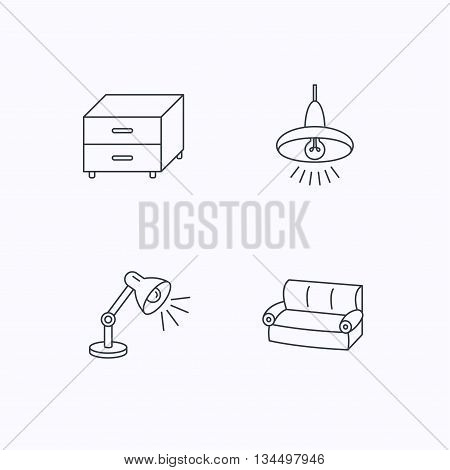 Sofa, table lamp and nightstand icons. Ceiling lamp linear sign. Flat linear icons on white background. Vector