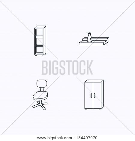 Office chair, cupboard and shelving icons. Wall shelf linear sign. Flat linear icons on white background. Vector