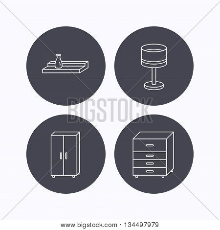 Table lamp, cupboard and wall shelf icons. Chest of drawers linear sign. Flat icons in circle buttons on white background. Vector