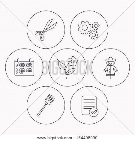 Scissors, flower and pitchfork icons. Scarecrow linear sign. Check file, calendar and cogwheel icons. Vector