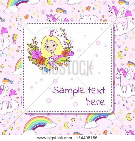 Banner design with with cute princess and space for text. Vector template for cards posters invitations covers.