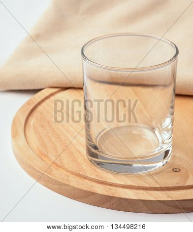 Empty glass on the cutting board