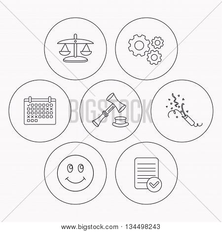 Scales of justice, auction hammer and slapstick icons. Smiling face linear sign. Check file, calendar and cogwheel icons. Vector