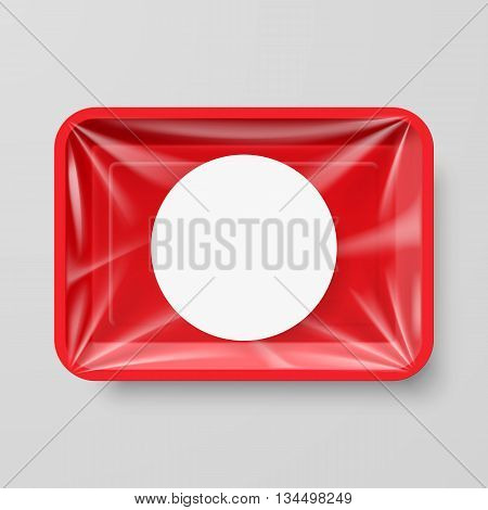 Empty Red Plastic Food Container with Round Label