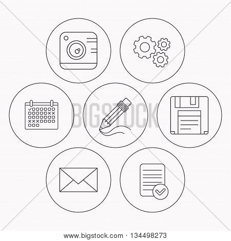 Photo camera, pencil and mail icons. Floppy disk linear sign. Check file, calendar and cogwheel icons. Vector