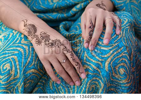 Woman with Fashion Henna Tattoo No Face Close up