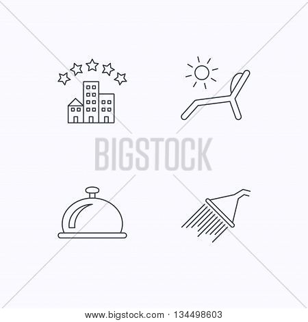 Hotel, shower and beach deck chair icons. Reception bell linear sign. Flat linear icons on white background. Vector