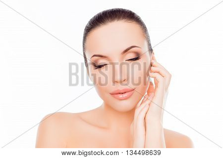 Portrait Of Sensitive Beautiful Woman Relaxing With Closed Eyes
