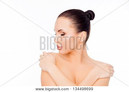 Portrait Of Beautiful Sensual Relaxed Girl Touching Her Shoulders