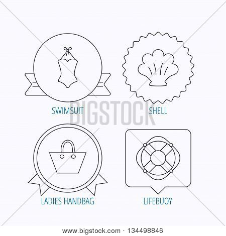 Ladies handbag, shell and swimsuit icons. Lifebuoy linear sign. Award medal, star label and speech bubble designs. Vector