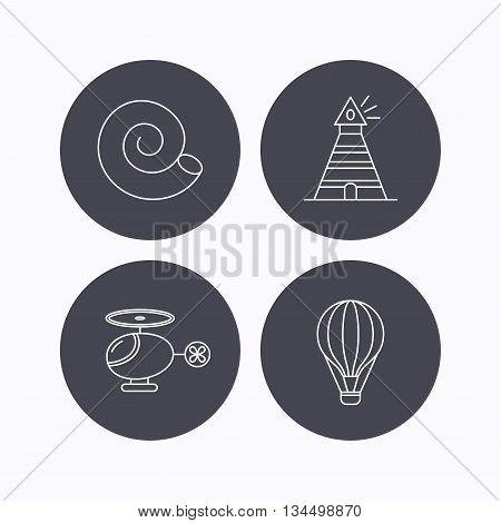 Lighthouse, air balloon and helicopter icons. Shell linear sign. Flat icons in circle buttons on white background. Vector