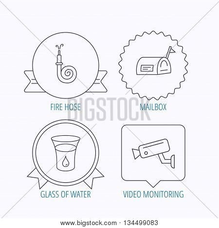 Mailbox, video monitoring and fire hose icons. Glass of water linear sign. Award medal, star label and speech bubble designs. Vector