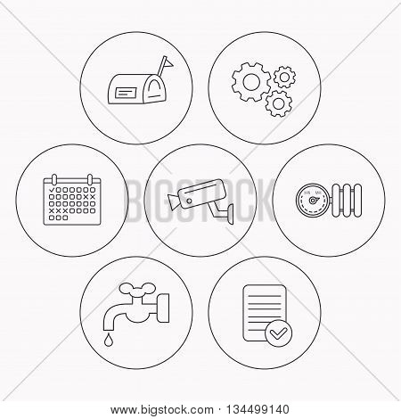 Water supply, video camera and mailbox icons. Radiator with regulator linear sign. Check file, calendar and cogwheel icons. Vector