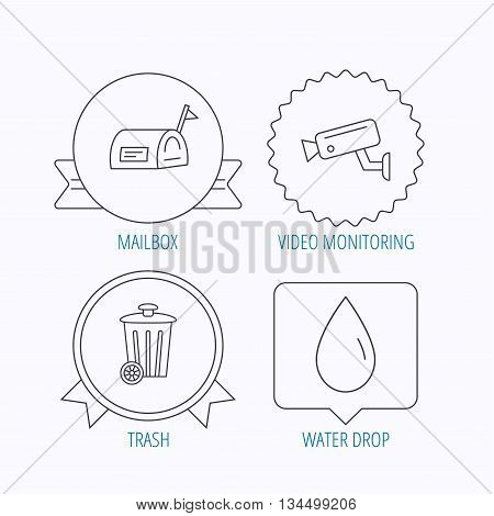Mailbox, video monitoring and water drop icons. Trash bin linear sign. Award medal, star label and speech bubble designs. Vector