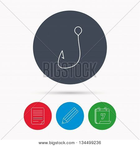 Fishing hook icon. Fisherman equipment sign. Angling symbol. Calendar, pencil or edit and document file signs. Vector