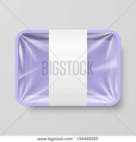 Empty Purple Plastic Food Container with Label on Gray Background